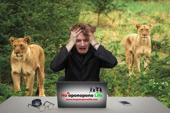 Hombre preocupado rodeado de leones. Ho'oponopono Life